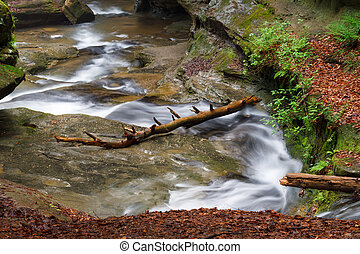 Old Man's Cave Whitewater - Water flows down the Upper Gorge...