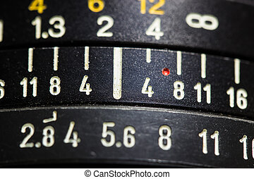 camera lens - old manual focus camera lens, close up.