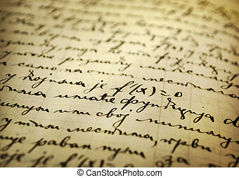 Old manuscript - Closeup of an old manuscript written with...