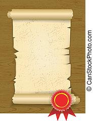 Old manuscript on wooden floor