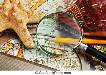 old map and starfish