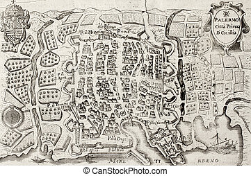 Old map bis of Palermo, Italy