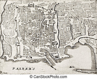 Old map of Palermo, Italy