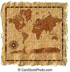 Old map on canvas with windrose