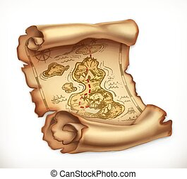 Old map, treasure island. 3d vector icon