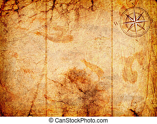 old map with a compass on it on a grunge background