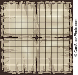 Old map with grid - Old damaged map with grid. Vector ...