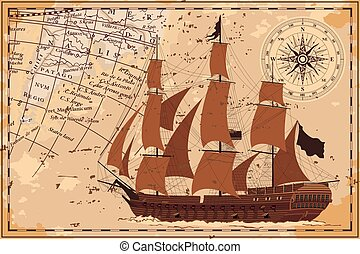 Old map with the ship.