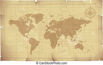 Old map - World map on old paper. Eps8. CMYK. Organized by...