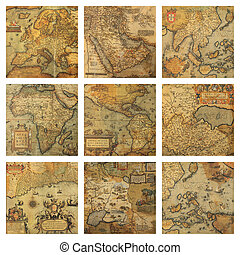 old maps fragments collage