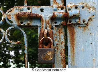 Old master key is lock on the steel door