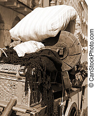 mattress and other items of poor immigrant family - old...