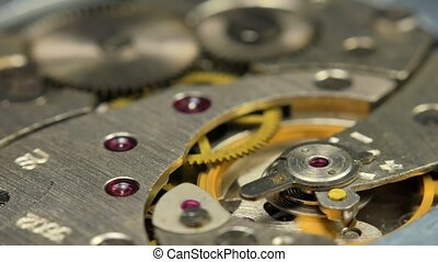 Old Mechanical Watches Mechanism Close up