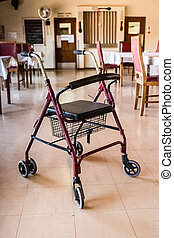 Medic Rollator 4 wheel Aluminum With Hand Brake in a old age nursing home