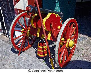 Old medieval artillery canon ball