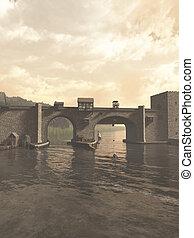 Old Medieval Bridge - Illustration of an old European...
