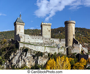 Old medieval castle in Foix, Ariege