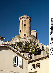Old medieval castle in Foix, Ariege