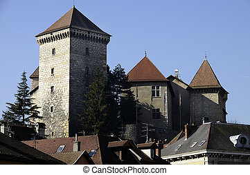 Old medieval castle of annecy city, France