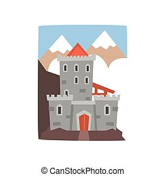 Old medieval castle with mountains landscape. Fortress with wooden gate, arched windows and defensive turrets. Flat vector design for story book, mobile game or postcard