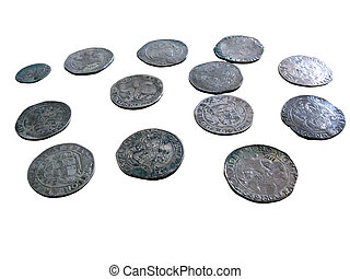 Old medieval coins isolated