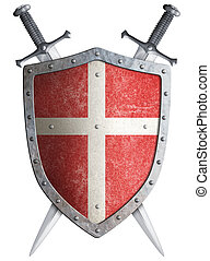 Old medieval crusader shield and two crossed swords isolated 3d illustration