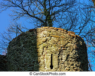 Old medieval fortress tower in France