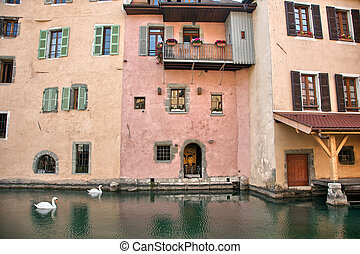 Old medieval houses and water canals in Annecy, France