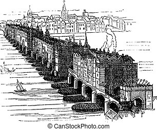 Old Medieval London Bridge, in England, United Kingdom, vintage engraving