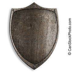 old medieval metal shield with clipping path included