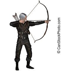 Old Mediaeval or fantasy archer with drawn bow and arrow wearing leather armour, 3d digitally rendered illustration