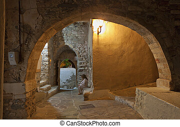 Naxos island in Greece - Old medieval streets at the Castle...