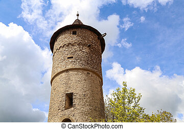 Old medieval tower against the blue sky
