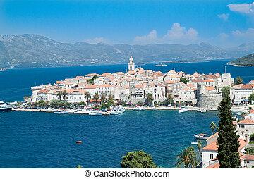 Old medieval town Korcula - panorama. Croatia
