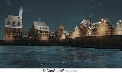 Empty medieval town with half-timbered european houses on riverfront and bridge above frozen river lit by street lamps at winter evening during snowfall. With no people 3D animation rendered in 4K