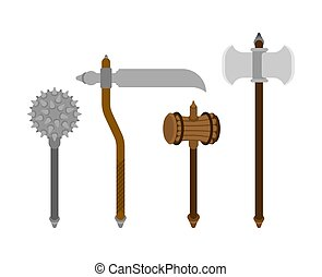 Old medieval weapon set. Mace weapon Morgenstern and battle ax. Sledgehammer for warriors. wooden hammer and Scythe