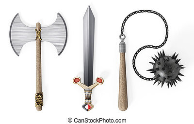 Old Medieval weapons white isolated on wh background. 3D...