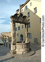Old medieval well in Regensburg ,Bavaria, Germany, Unesco ...