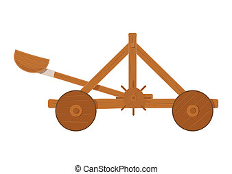 old medieval wooden catapult shooting stones vector illustration isolated on a white background
