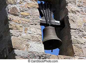 belfry - old mediterranean belfry with stone wall texture