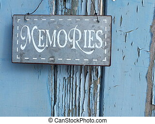 Old Memories - Shabby chic Metal memories sign on blue...