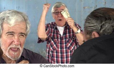 Old Men Fist Fighting Slow Motion