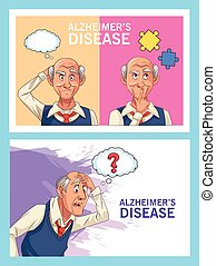 old men patients of alzheimer disease with speech bubbles an puzzle pieces
