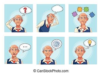 old men patients of alzheimer disease with speech bubbles an puzzle pieces