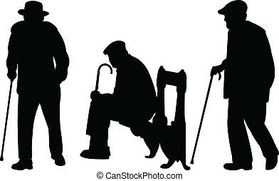 Old men with cane silhouettes - vector