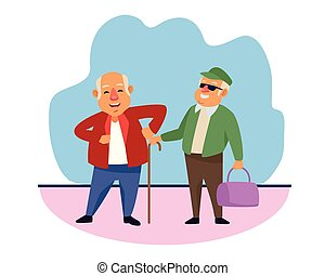 old men with handbag and cane active senior characters