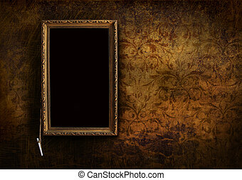 Old menu board with grungy floral background