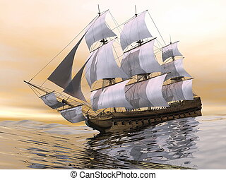 Close up of a beautiful detailed old merchant ship on the ocean by sunset light