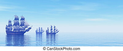 Old merchant ships - 3D Render - Three beautiful old ...