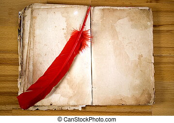 Old Message Book with red feather
